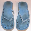 Blue Thong Shoes,High Sole,Silver Simulated Studs,Cute
