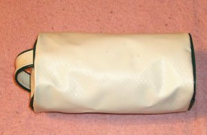 White Barrel Bag w/ Green Trim, Log Style,From Avon