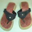 Blue Denim Thong Shoe With Jewel,Red Hanky Lining