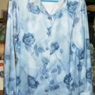 Silk-Like Long-Sleeved Blue Floral Dressy Shirt,Pretty