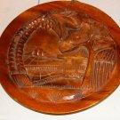 Wood Decorative Plate,Palm Tree & Mountains,Small Hut