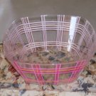 Pink Plaid Plastic Bowl, Square Design, Atrractive