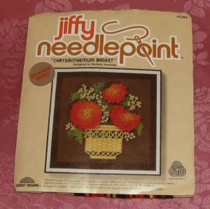 Sunset Jiffy Needlepoint,Chrysantheum Basket, NP Kit