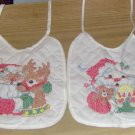 Christmas Bibs,Hand Embroidered,Santa & Deer/Doll,Cute
