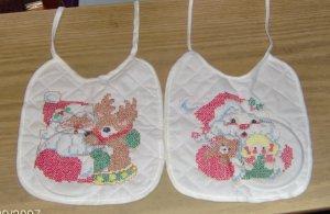 Christmas Bibs,Hand Embroidered,Santa & Deer/Doll,Cute