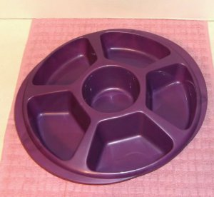Round Purple Relish/Chip&Dip Tray,Plastic,6 Sections