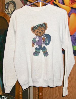 Gray Sweatshirt With A Cute Bear With Plaid Vest, Sunglasses & Backpack, So Cute