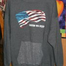 Hooded Sweatshirt With U.S. Flag - Gray Color- Made In USA - CSA - Double Pocket