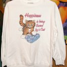 Happiness is Being Owned By a Cat Cute Sweatshirt From Blair, Cotton Polyester