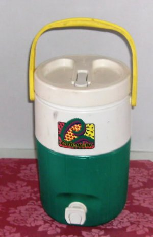 Coleman Green & White Thermos,Nice Lge Size,Push Button Spigot,Great For Camping