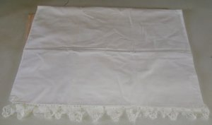 White Pillow Case with Crocheted Trim, Standard Size, Needs Some Mending,Pretty
