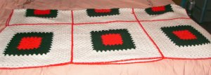 Red, Green & White Squares Pretty Afghan, Christmasy, Blocked Design, 6 Squares