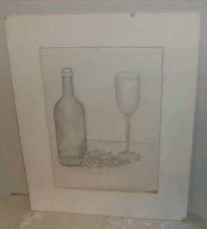 Glass Bottle & Grapes Penciled Sketch, Nice Picture, Simple, No Frame, Matted