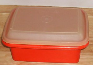 Tupperware Red & White Ice Cream Container,No Cracks or Breaks, Vintage, 1980's