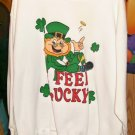 St. Patricks Day Sweatshirt With a Leprachuan-Says I Feel Lucky-Coins & Clover