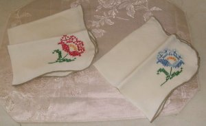 Pretty Set of 2 Hand Embroidered Napkins, Blue Flower & Red Flower,Finished Edge