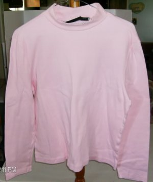 Allison Brittany Med Pink  Long Sleeved Shirt, Size M, 100% Cotton,Mock Turtle