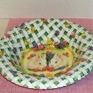 Easter Bowl, Lattice Design,Bunnies & Flowers, Plastic, Great For Decorating