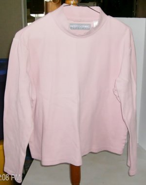 Concept Clothing Light Pink Mock Turtleneck Top, 100% Cotton, Size Medium (10-12