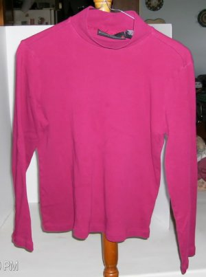 Allison Brittany Raspberry Colored Mock Turtleneck, 100% Cotton, Size Medium