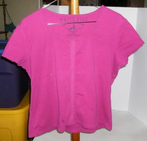 White Stag Raspberry Top With Embroider Strip Down The Front,