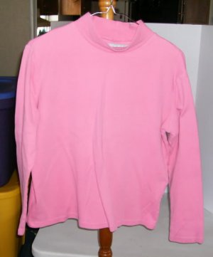 Concept Clothing Medium Pink Mock Turtleneck, Sz Medium, Size 10-12, 100% Cotton