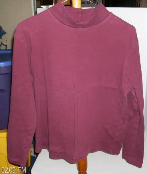 Concept Clothing Burgundy Mock Turtleneck, Sz Medium (10-12), 100% Cotton,Pretty