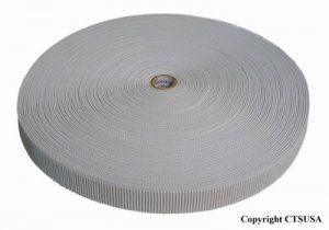 "Non-Roll Ribbed Elastic White 1-1/4"" Inch Width 32YDS"