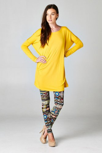 KAITLYN OVERSIZED TUNIC DRESS - MUSTARD S / M