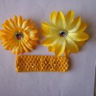 Yellow Flower Clips with Matching Headband