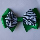 Green and Zebra Print--Hair Bow--