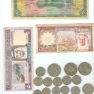 old saudi money paper and coinand kuwait bahrain iraq libya coin