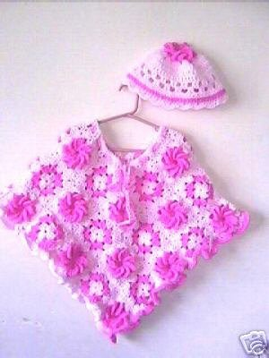 Granny Flower Poncho & Hat Crochet Pattern 6-adult Original Design