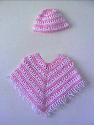 """Katie"" Crochet Poncho & Hat Patterrn 1-5 years"
