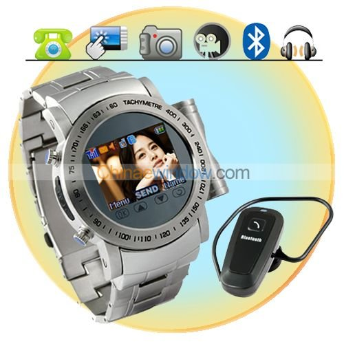 1.5 Inch Touch Screen Quad Band Stainless Steel Watch Phone M64