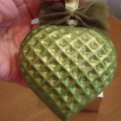 Jeweled Blown Glass Lime Green Heart Ornament NIB