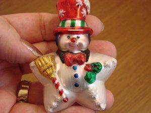 Christopher Radko Glass Small Star Snowman with Box