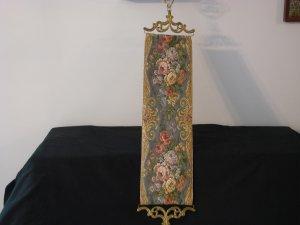 Vintage Tapestry and Brass Door Knocker