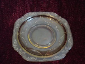Vintage Yellow Glass Decorative Plate