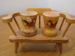 Chicken Vintage Wooden Salt & Pepper Shakers on Bench