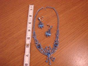 Sapphire Blue Rhinestone Choker with Matching dangle clip earrings