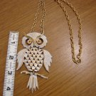 Large Owl Necklace - Goldtone and white with light orange crystal eyes