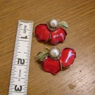 Vintage Clip Earrings - Red Lacquered Flower with Pearl and Rhinestones
