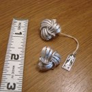 Trifari Silvertone Swirl Clip Earrings  -  New with Tag