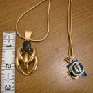 Goldtone and Black Onyx Stone Pendant and Flexible Snake Chain