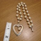 Goldtone Heart and Faux Pearl Choker Necklace