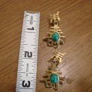 Goldtone Chinese Character Clip Earrings with Jade Stone