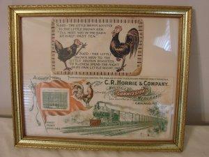 Two Vintage Rooster Cards Framed  C.R. Horrie & Co.