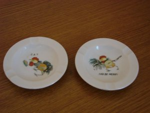 Ceramic Chicken Ashtrays - Set of Two Eat and Be Merry