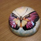 Purple Butterfly Botanical Glass Paperweight New in Box